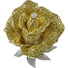 Sabbadini Fancy Intense Yellow & White Diamond 18K Yellow Gold Flower Brooch