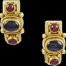 Sapphire & Ruby 22K Yellow Gold Earrings