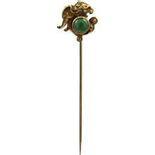 Jade & Yellow Gold Griffin Stick Pin