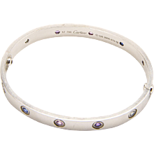 Cartier Size 17 White Gold and Multi Colored Sapphire LOVE Bracelet