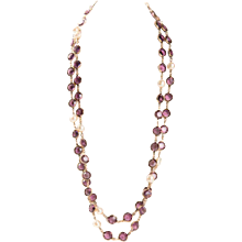 Chanel Purple Crystal and Pearl Necklace