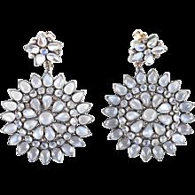 Flower Motif Moonstone and Blackened Gold Drop Earrings