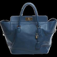 Hermes 33cm Swift Thalassa Blue Toolbox Birkin Bag