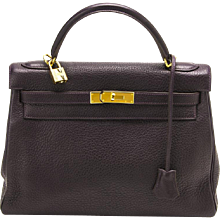 Hermes 32cm Raisin Kelly with Gold Hardware and Clemence Leather