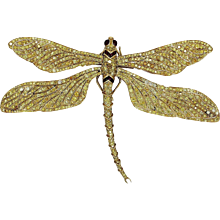 Fred Leighton  Yellow Diamond Gold Tremblant Dragonfly Pin