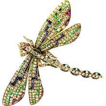 18K Yellow Gold Multi Stone Dragonfly Pin