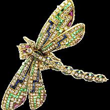 18K Yellow Gold Multi Stone Dragonfly Pin