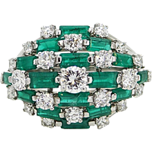 Baguette Emerald and Diamond Platinum Ring