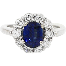18K White Gold Ceylon Sapphire And Diamond Ring