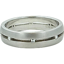 18K White Gold Bez Ambar Mens  Diamond Wedding Band