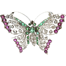 14K White Gold Butterfly Pin