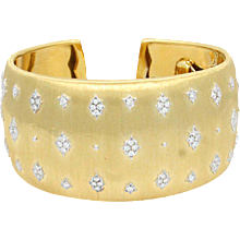 18K Yellow Gold Buccellati Diamond Cuff Bracelet