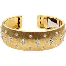 18K Yellow and White Gold Diamond Buccellati Bracelet Cuff