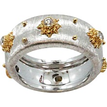18K White Gold Buccellati Macri Diamond Band Ring