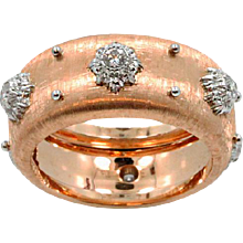18K Rose Gold Buccellati Diamond Ring Band