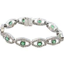 Platinum Emerald And Diamond Bracelet