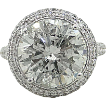 6.47 Carat Round Brilliant Diamond White Gold Engagement Ring