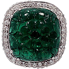 27.99 Carat Zambian Carved Emerald Ring