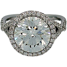 4.47 Carat GIA Cert Round Brilliant Diamond Engagement Ring