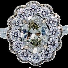 Champagne Oval Diamond 3.14 carat Ring