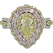 Fancy Intense Yellow Pear Shape Diamond Ring with Pink and White Diamonds