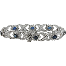 Platinum Oval Sapphire And Diamond Bracelet