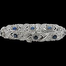 Platinum Oval Sapphire And Diamond Bracelet