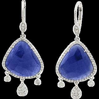 14K White Gold Sliced Sapphire And Diamond Earrings