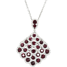 18K White Gold Ruby and Diamond Pendent Necklace