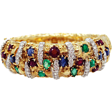 18K Diamond, Sapphire, Ruby and Emerald Nugget Bangle