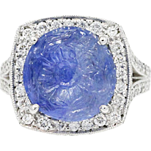 Platinum Carved Sapphire Ring