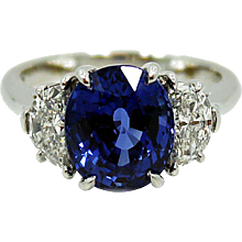 Platinum Diamond and Sapphire Tiffany & Co. Ring