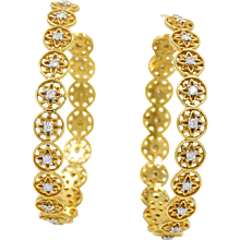 20K Buddha Mama Continuous Flower Hoop Diamond Earrings