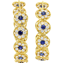 20K Buddha Mama Continuous Flower Diamond and Sapphire Hoop Earrings