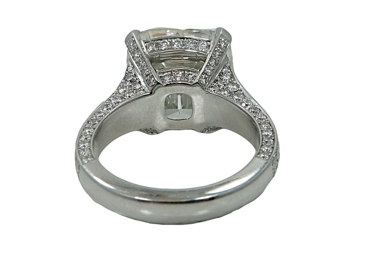 Platinum Elongated Radiant Diamond Engagement Ring From