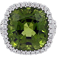 Burmese Peridot and Diamond Gold Ring