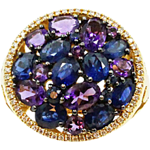 18K Yellow Gold Sapphire Amethyst and Diamond Ring
