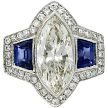 Platinum Marquise Diamond And Sapphire Ring