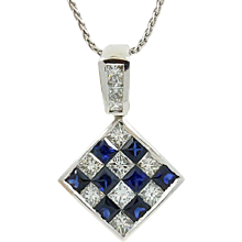 18K White Gold Square Diamond And Sapphire Pendent
