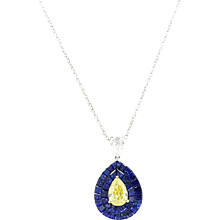 18K White Gold Sapphire And Yellow Diamond Pendent