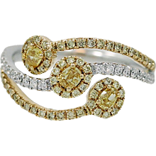 14K White Gold Fancy Yellow Diamond Two Color Gold Ring
