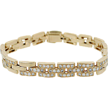 18K Cartier Maillon Panthere Three Row Bracelet with Diamonds