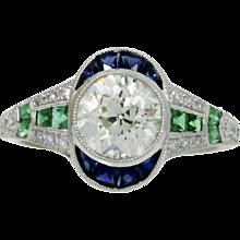 Platinum Diamond Emerald And Sapphire Ring