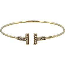 18K Yellow Gold  Tiffany & Co. T Gold Diamond Wire Bracelet