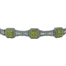 Greg Ruth 18K White Gold Diamond and Yellow Diamond Bracelet