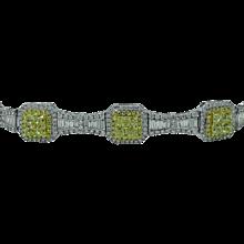 Greg Ruth 18K White Gold Diamond and Yellow Diamond Bracelet