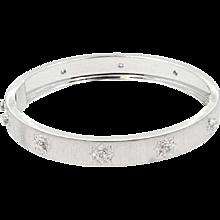 18K White Gold Diamond Buccellati Macri Bangle