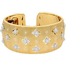 18K Yellow and White Gold Buccellati Macri Cuff Bracelet