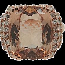 14K Rose Gold 10.71 Carat Morganite Ring with Diamonds