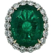 18K White Gold Oval 19.78ct Emerald Diamond Ring